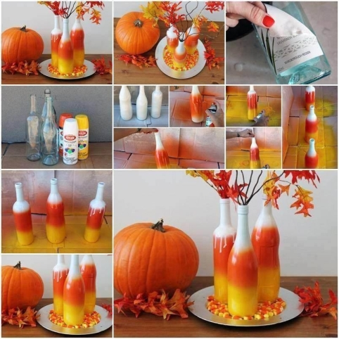 Candy-Corn-Vases-Made-From-Recycled-Bottles