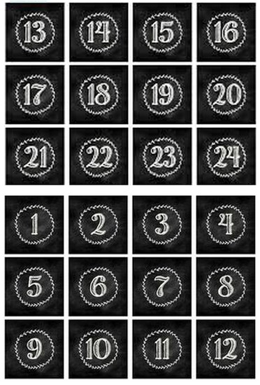 chalkboard numbers for advent