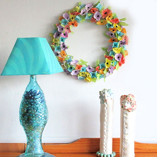 egg carton wreath feature