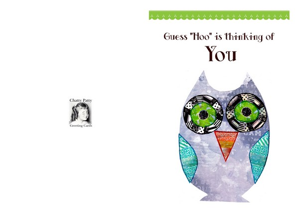 washi tape greeting card owl for odf