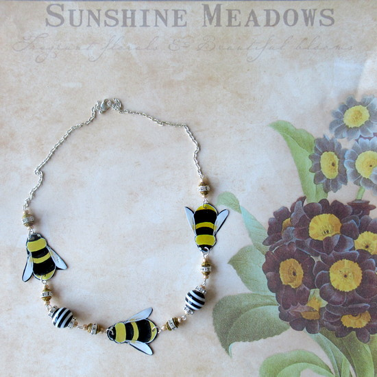 tin bee necklace