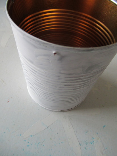 tin can basket paint white and punch holes
