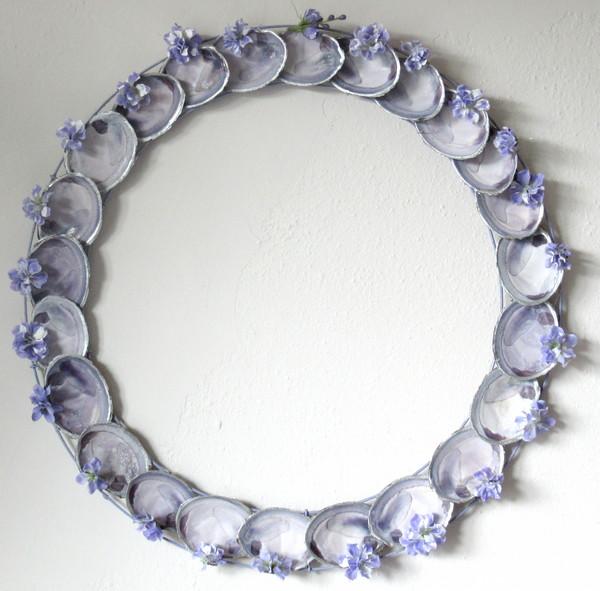 purple clam shell wreath