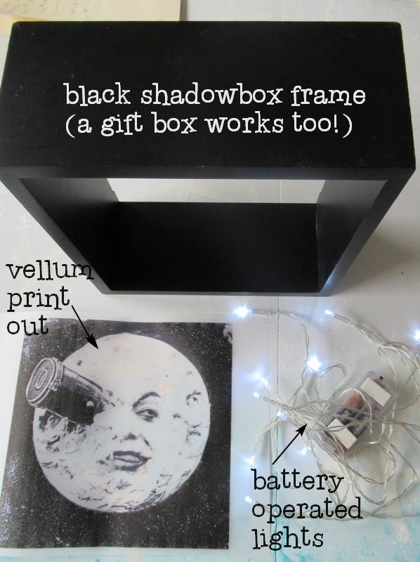 trip to moon light box supplies