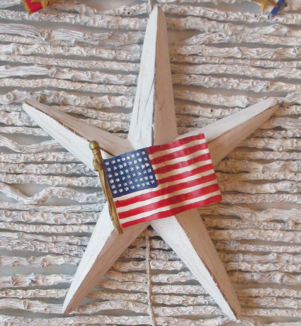 twig wall hanging wood star and flag pin