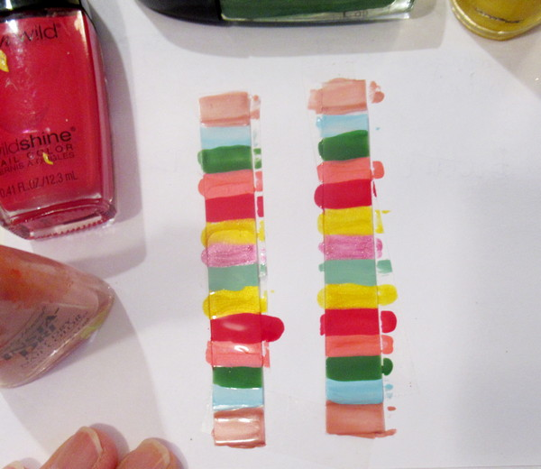 plastic and nail polish earrings bright (2)