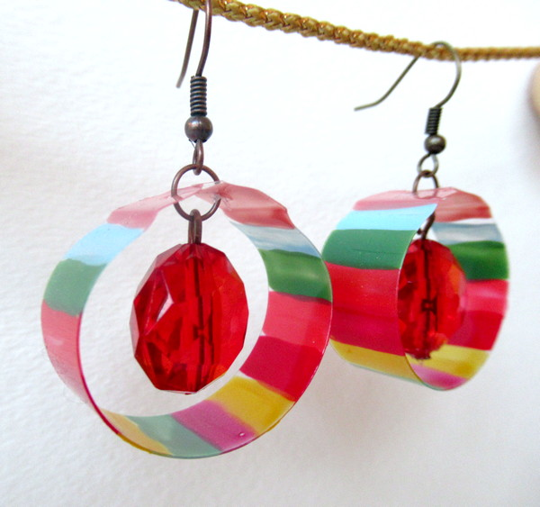 plastic and nail polish earrings bright