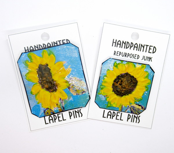handpainted sunflower pin feature