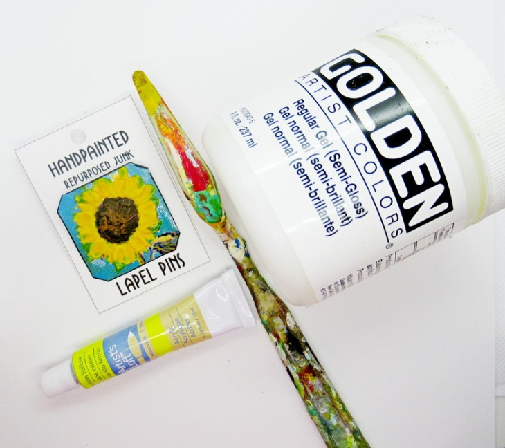 handpainted sunflower pin supplies