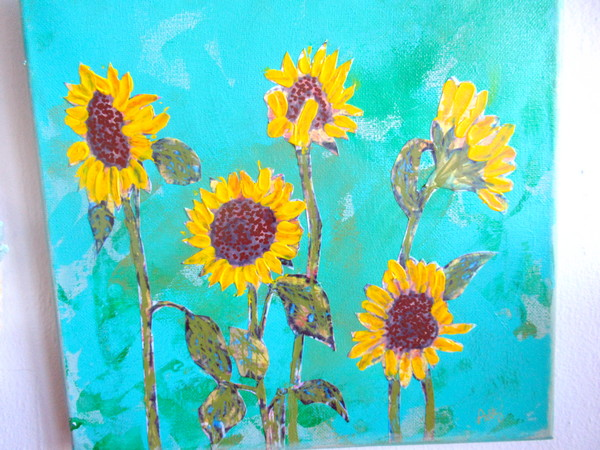 sunflower hand painted lapel pin start