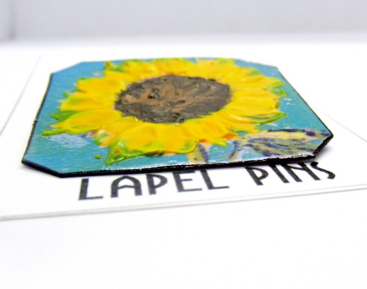 sunflower lapel pins closeup