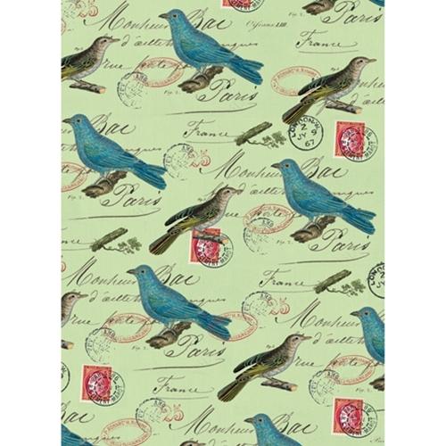 cavallini paper blue birds on green