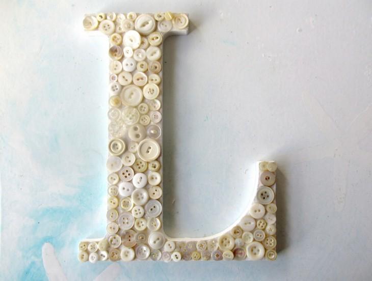 vintage button letter L for blog