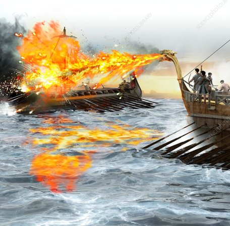 Greek fire being used in a naval battle, illustration