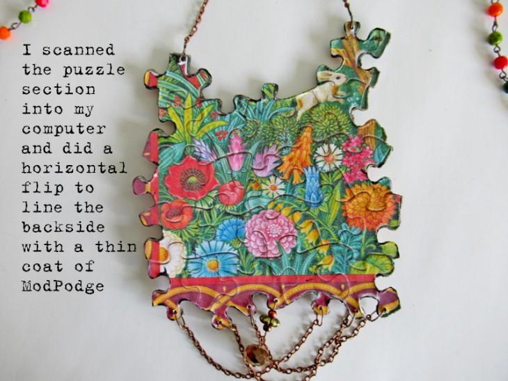 jigsaw puzzle necklace back image