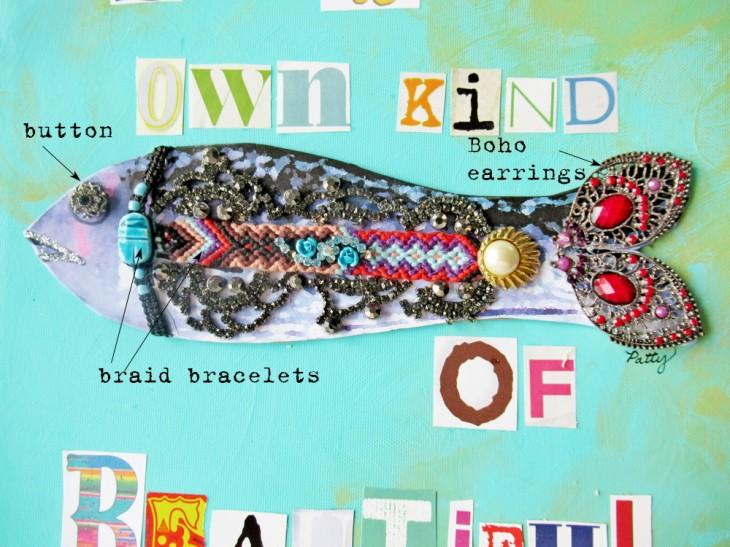 repurposed junk jewelry beautiful fish closeup