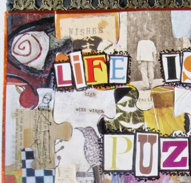 mixd media puzzle art closeup 1