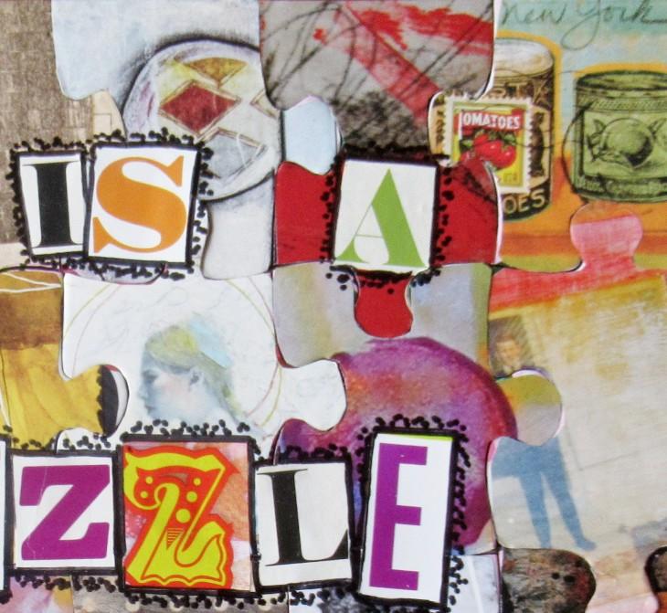 mixd media puzzle art closeup 2