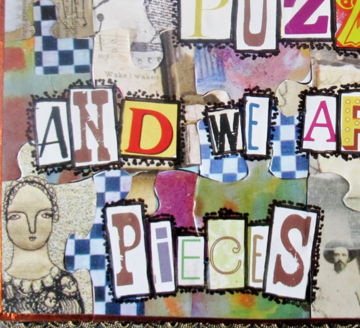 mixd media puzzle art closeup 3