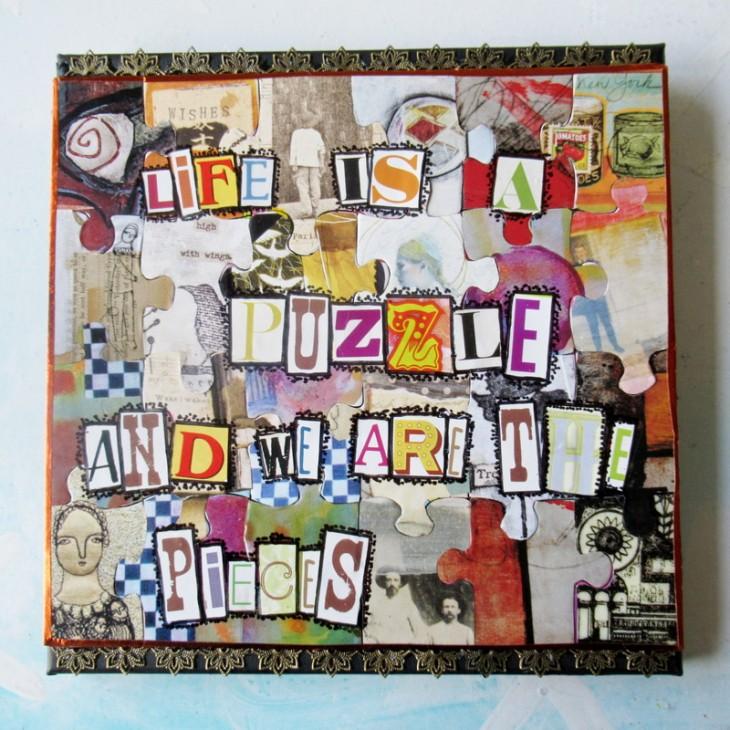 mixd media puzzle art