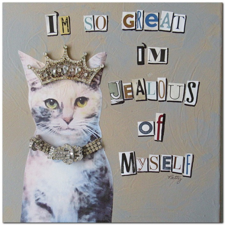 Jealous Cat Mixed Media
